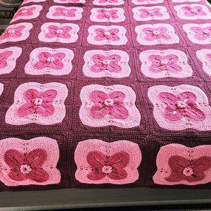 Handmade granny squares crochet throw blanket.